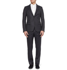 Alexander McQueen Navy Slim-Fit Jacquard Wool Suit