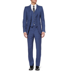 Alexander McQueen Blue Slim-Fit Wool and Mohair-Blend Suit Jacket