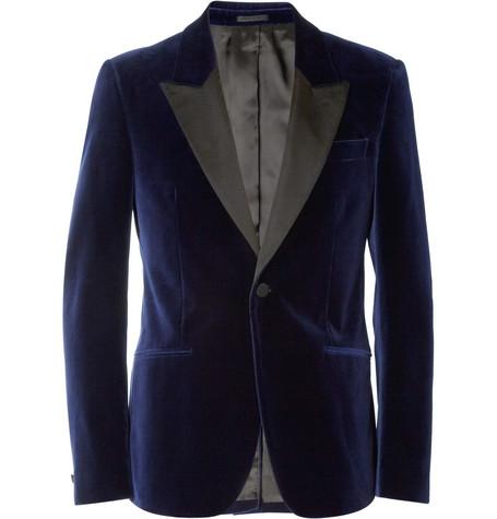Alexander McQueenNavy Velvet Slim-Fit Tuxedo Jacket