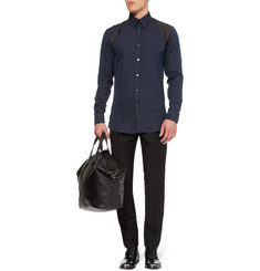 Alexander McQueen Slim-Fit Silk-Harness Cotton Shirt