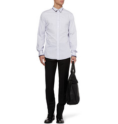 Alexander McQueen Double-Collar Striped Cotton Shirt
