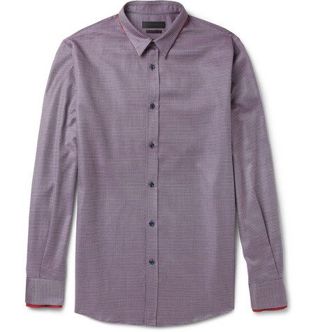 Alexander McQueen Double-Collar Patterned Woven-Cotton Shirt