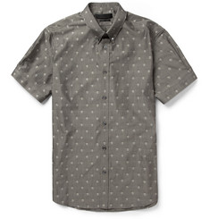 Alexander McQueen Skull-Patterned Jacquard-Woven Cotton Shirt