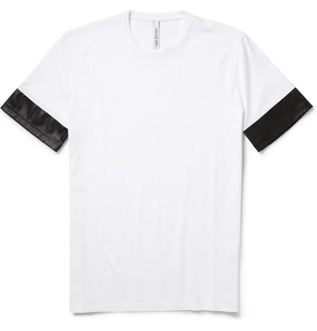 Neil Barrett Faux Leather-Trimmed Cotton T-Shirt