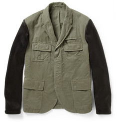 Neil Barrett Slim-Fit Leather-Sleeved Cotton-Canvas Field Jacket