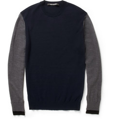 Neil Barrett Contrast-Sleeve Wool-Jersey Sweater