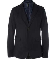 Burberry Brit Quilted-Trim Donegal Wool Blazer