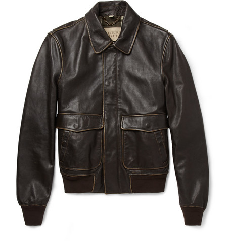 Burberry Brit Burnished Leather Bomber Jacket