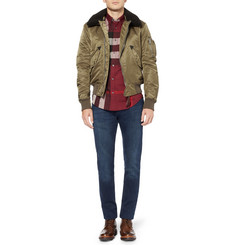 Burberry Brit Shearling-Collar Bomber Jacket