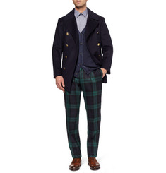 Lanvin Navy Panelled Check Cotton Shirt
