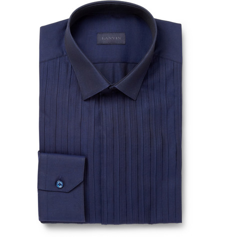 Lanvin Dark Blue Woven-Cotton Shirt