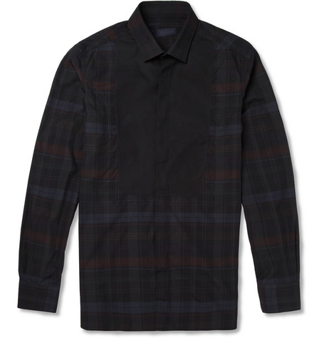 Lanvin Slim-Fit Bib-Front Plaid Cotton Shirt