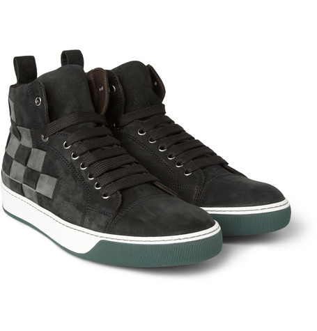 Lanvin Woven Nubuck High Top Sneakers