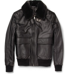 Brioni Beaver-Trimmed Leather Jacket