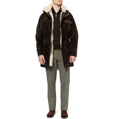 Brioni Shearling-Lined Suede Coat