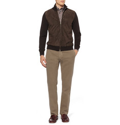 Brioni Suede and Wool Cardigan