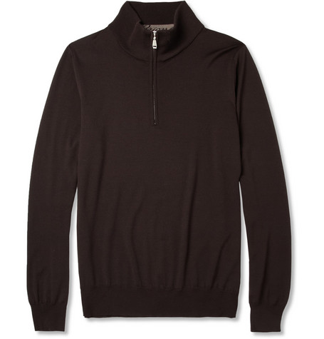 Brioni Zipped-Collar Extrafine Wool Sweater