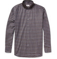 Brioni Knit-Collar Check Cotton Shirt