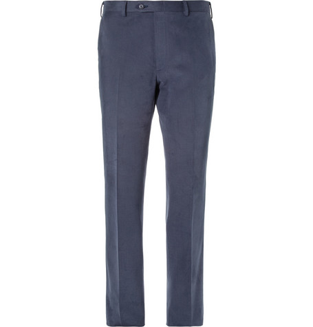 Brioni Leather-Trimmed Brushed-Cotton Trousers