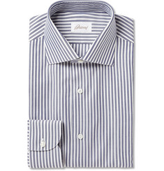 Brioni Blue Bengal Stripe Cotton Shirt