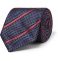 Brioni - Striped Herringbone Silk Tie