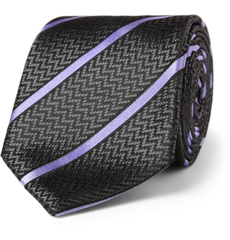 Brioni Striped Herringbone Silk Tie