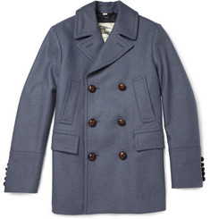 Burberry London Leather-Trimmed Wool Peacoat