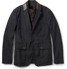 Burberry London Leather-Trimmed Shell Blazer