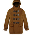 Burberry London Leather-Trimmed Wool Duffle Coat