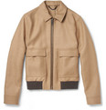Burberry London Ribbed-Trim Camel Bomber Jacket