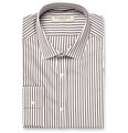 Burberry London Brown Slim-Fit Striped Cotton Shirt