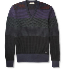 Burberry London Patterned-Knit Cotton-Blend V-Neck Sweater