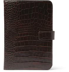 Smythson Crocodile-Embossed Leather iPad Mini Case
