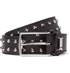 Burberry Shoes & Accessories Studded Cross-Grain Leather Belt