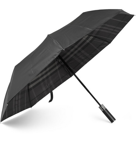 Burberry Shoes & Accessories Check-Lined Collapsible Umbrella