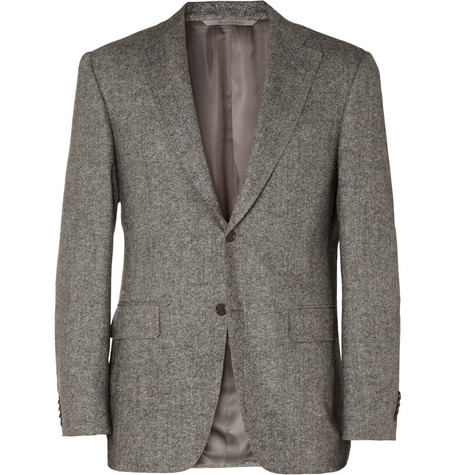 Canali Grey Wool-Blend Suit Jacket