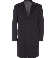 Canali Velvet-Collar Wool and Cashmere-Blend Overcoat