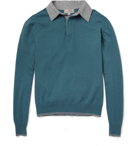 Canali Long-Sleeved Wool Polo Shirt