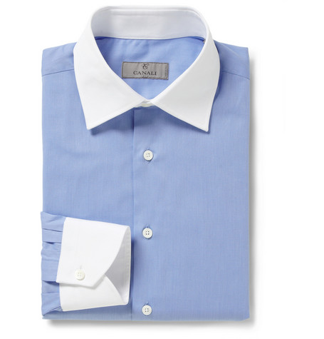 Canali Blue Contrast-Collar Cotton Shirt