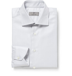 Canali Pale Grey Herringbone Cotton Shirt