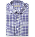 Canali Blue Gingham Double Twist Cotton Shirt