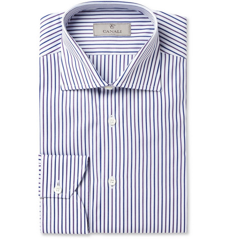 Canali White Striped Cotton Shirt