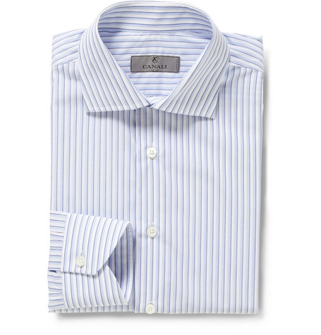 Canali Blue Bengal Stripe Cotton Shirt