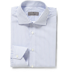 Canali Blue and White Bengal Stripe Cotton Shirt