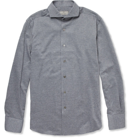 Canali Patterned Woven-Cotton Shirt