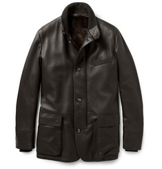 Loro Piana Roadster Villa D'Este Castorino-Lined Leather Coat