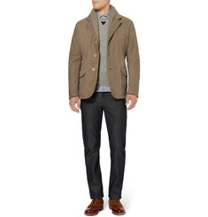 Loro Piana New Bradford Cashmere-Trimmed Nubuck Leather Blazer
