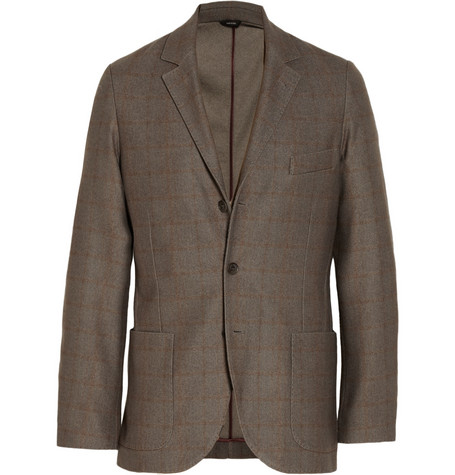 Loro Piana Unstructured Check Silk and Cashmere-Blend Blazer