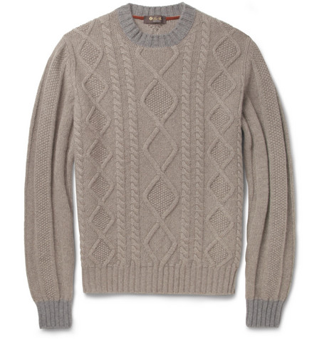 Loro Piana Coarsehair Cable-Knit Cashmere Sweater