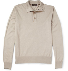Loro Piana Button-Collar Silk and Cashmere-Blend Sweater